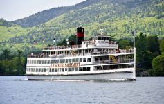 The Sait Sacrement of the Lake George Steamboat Company Floats on Lake George
