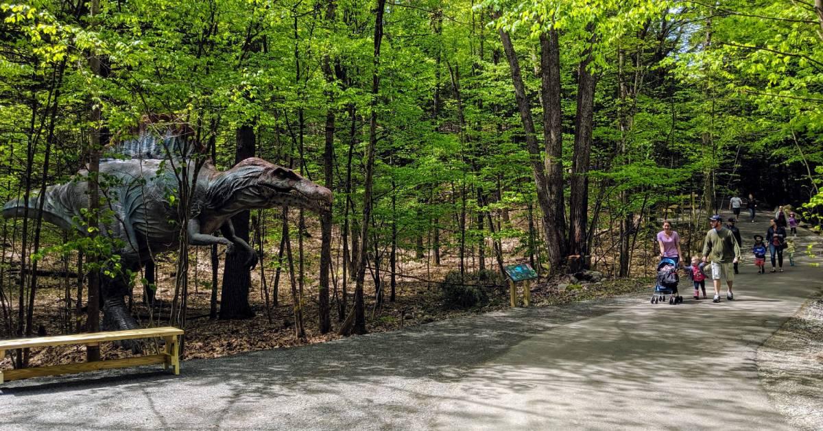 people on walking path by dinosaur