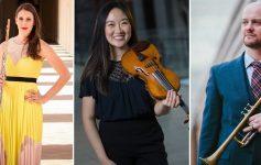 three musicians, split image