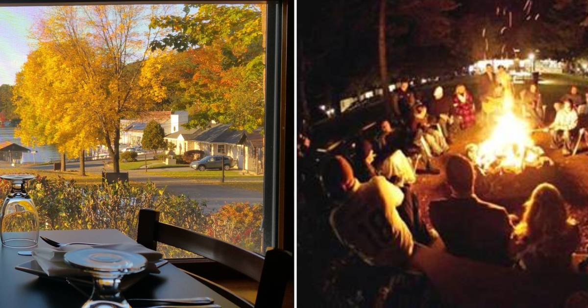 split image with foliage view on left and fire at night on right