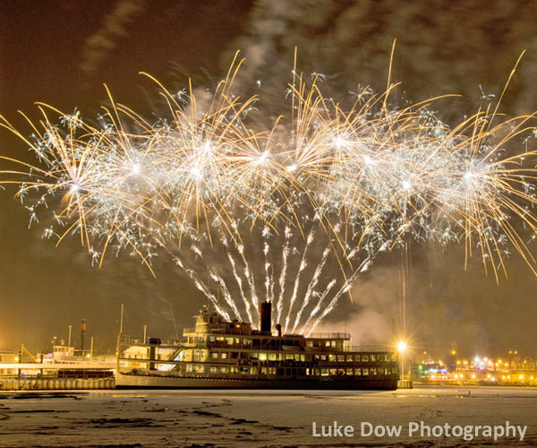 New Year's fireworks on Lake George