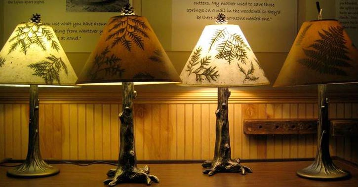 adirondack lamps in a row