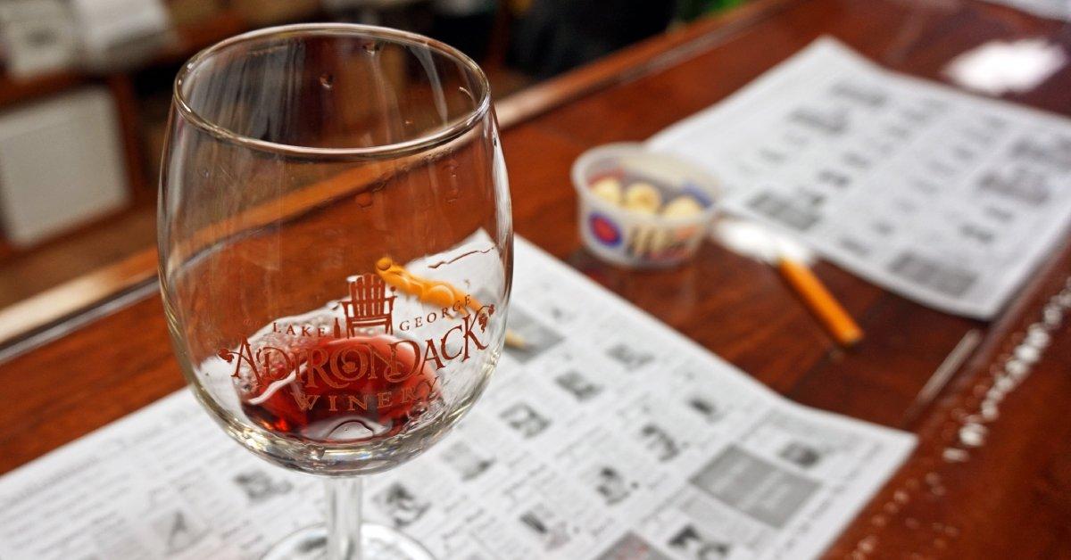 wine glass at adirondack winery's bolton tasting room