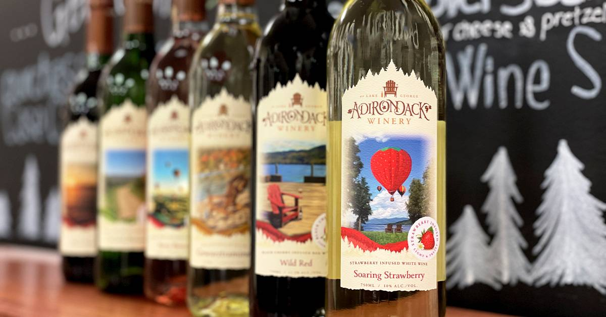 a lineup of adirondack winery wines