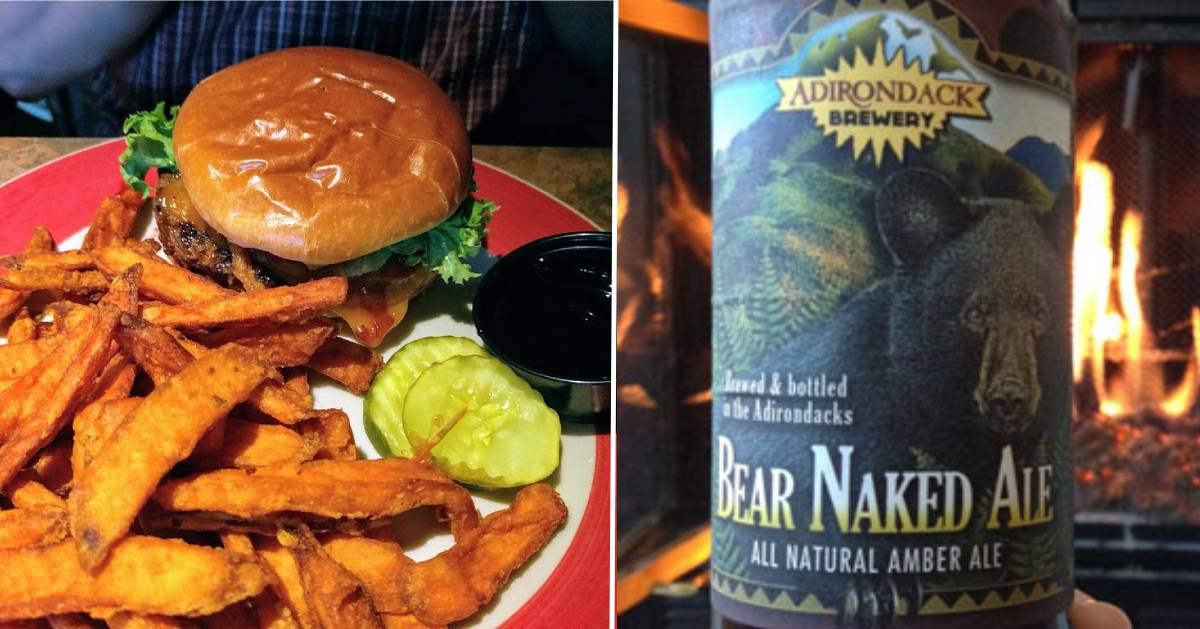 split image with burger and fries on the left and beer bottle in front of fire on the right
