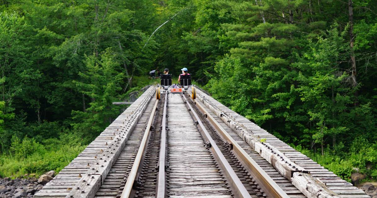 two people railbiking into the forest