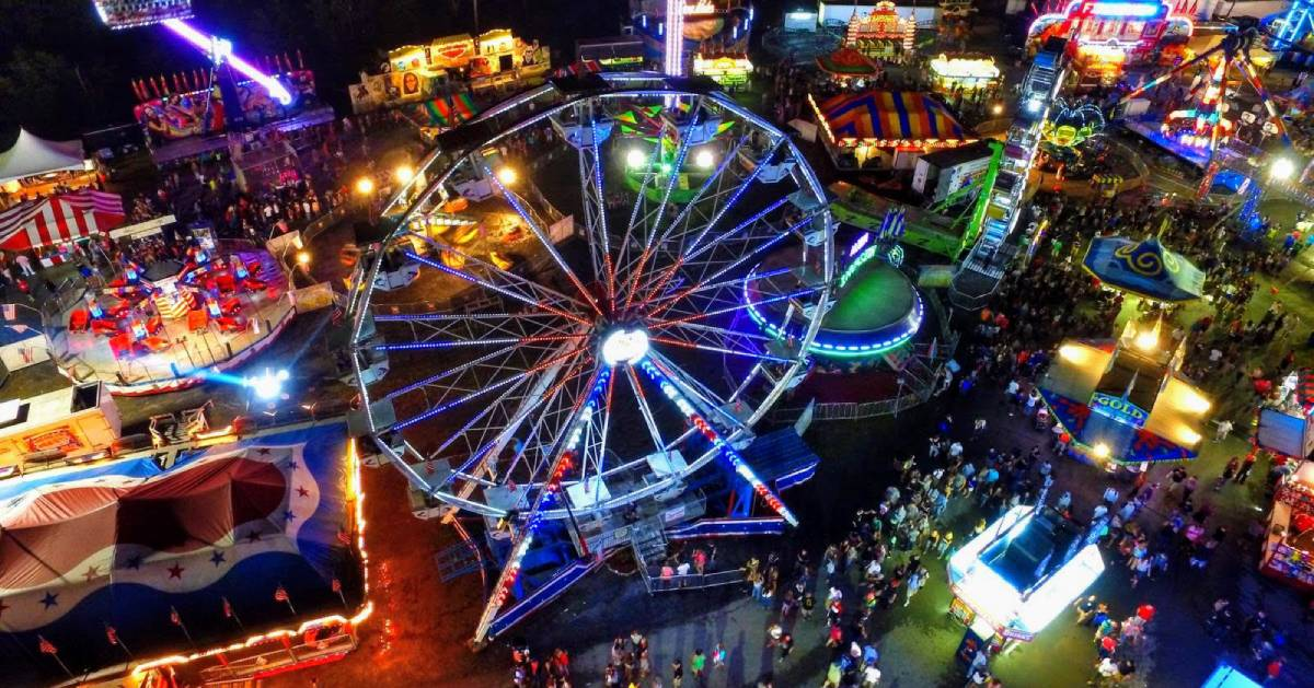 aerial view of fair at night