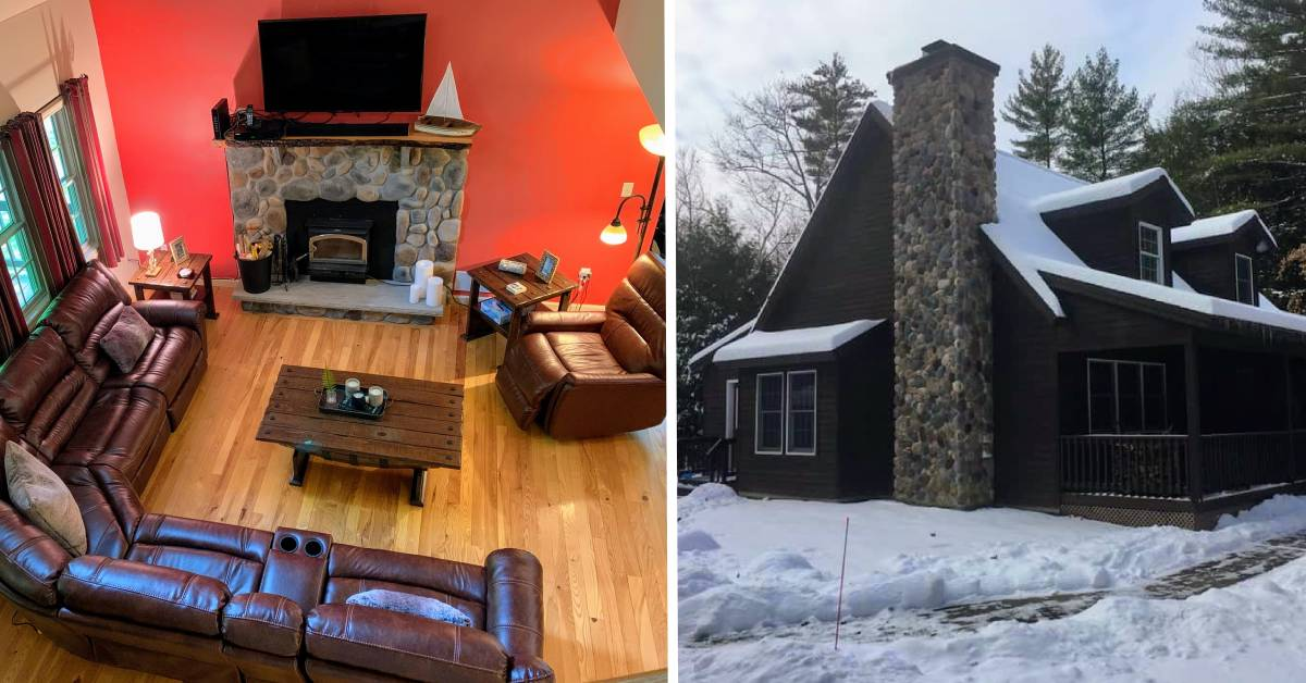 split image with cabin living room and outside of cabin covered in snow