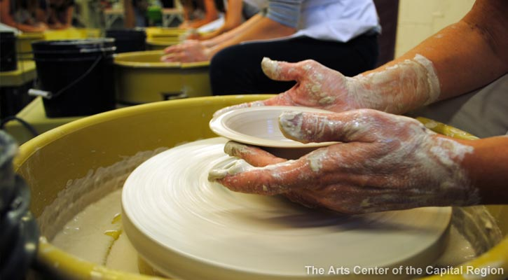 pottery class at the arts center of the capital region