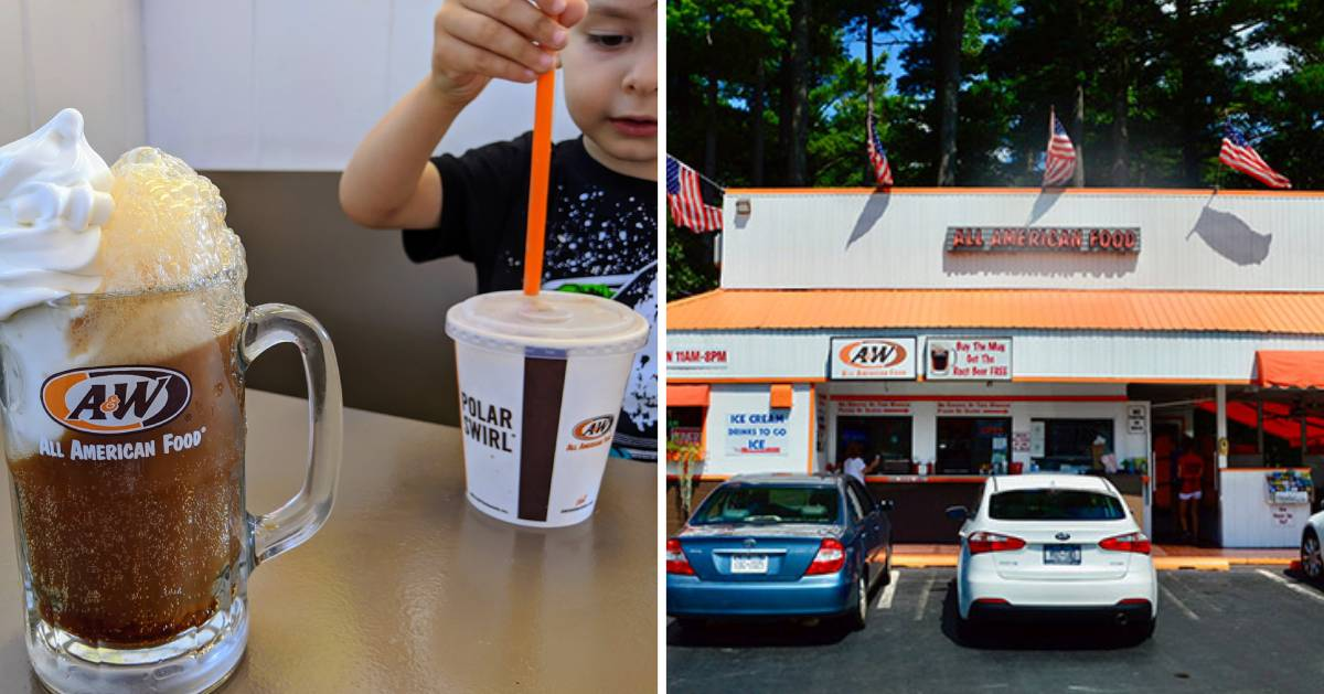 split image with kid and root beer float on the left and the outside of A&W on the right