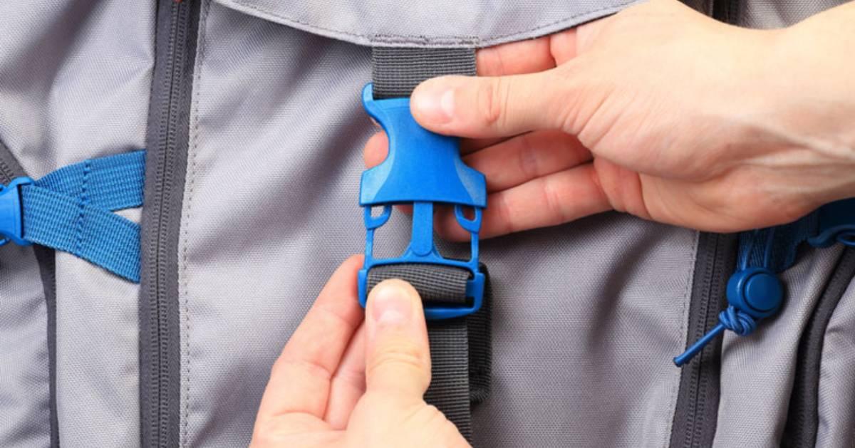 blue buckle on backpack