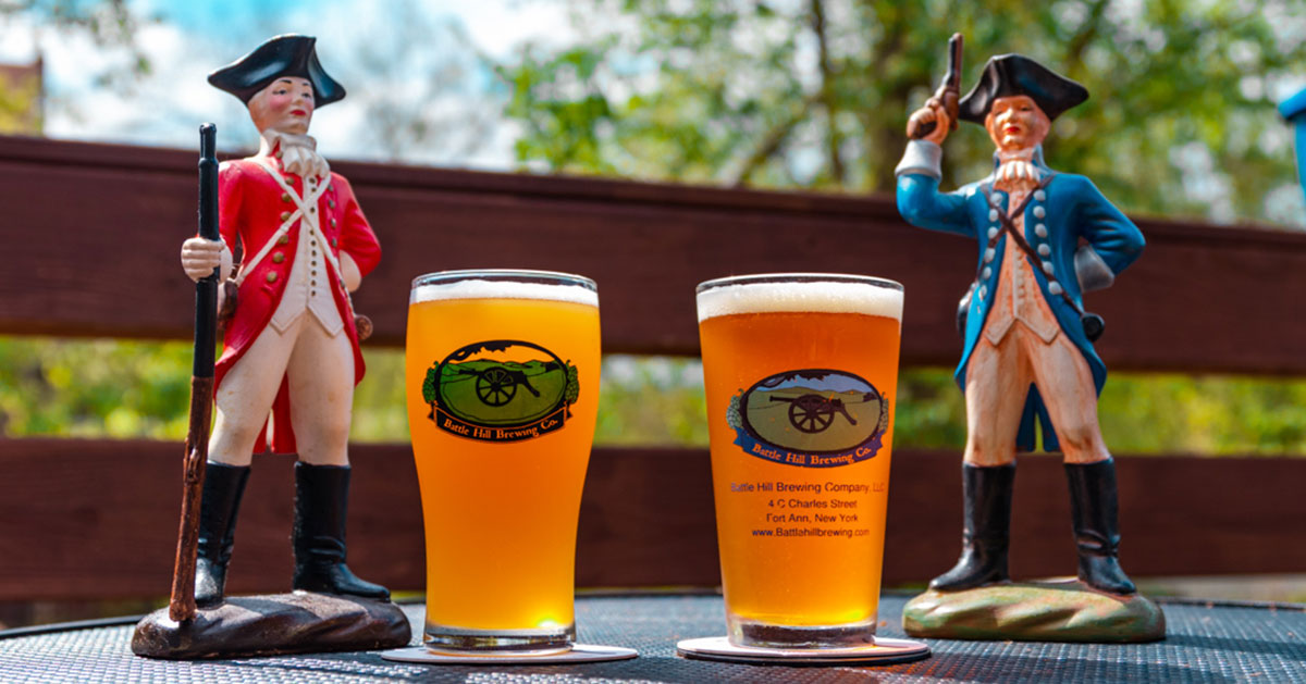 battle hill brewing glasses and statues
