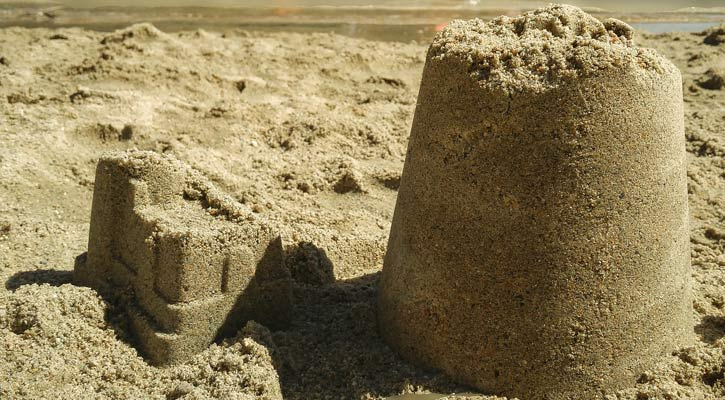 close up of a sandcastle