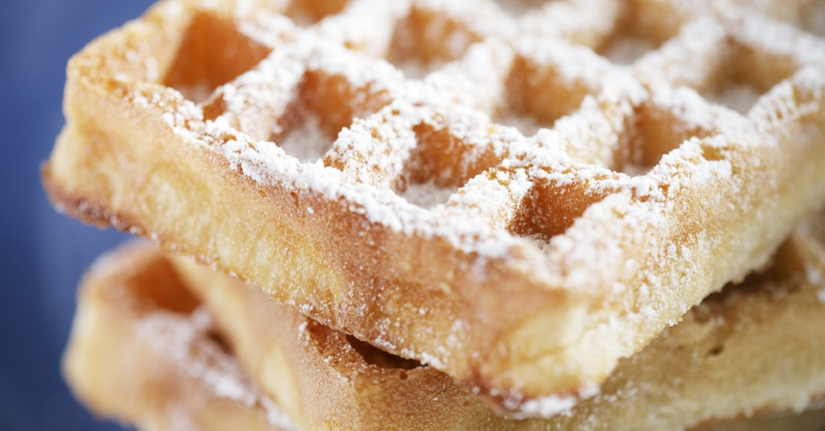 belgian waffles with powdered sugar