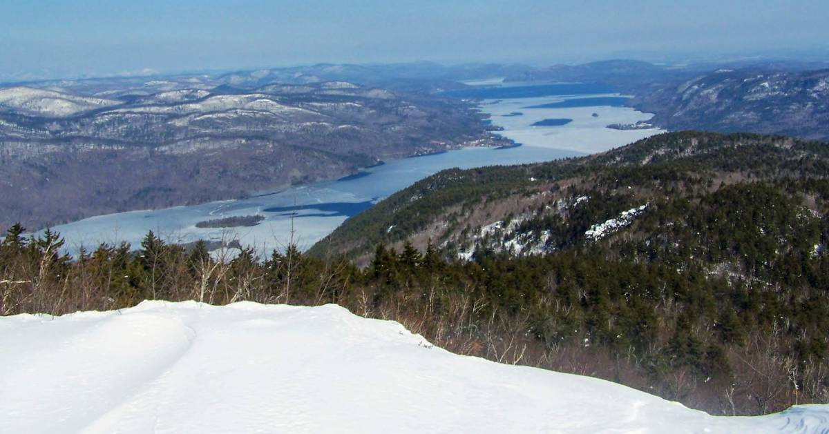 winter scene from mountain summit