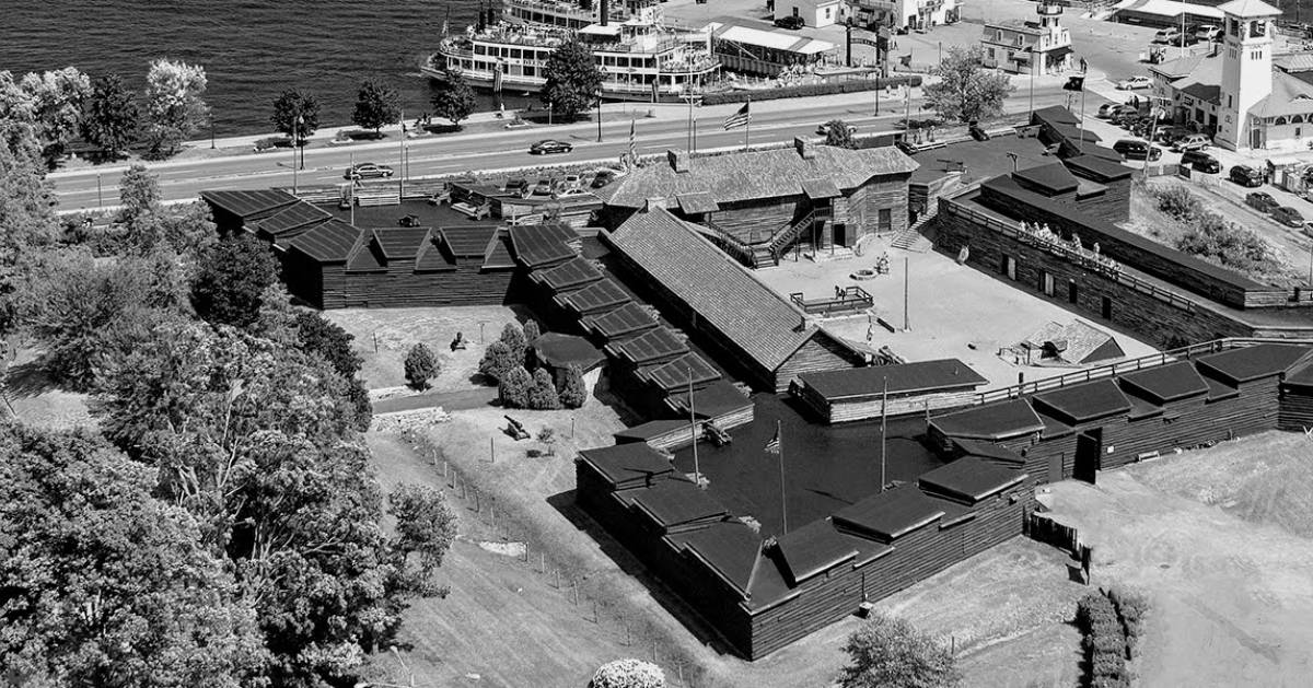 black and white aerial image of Fort William Henry