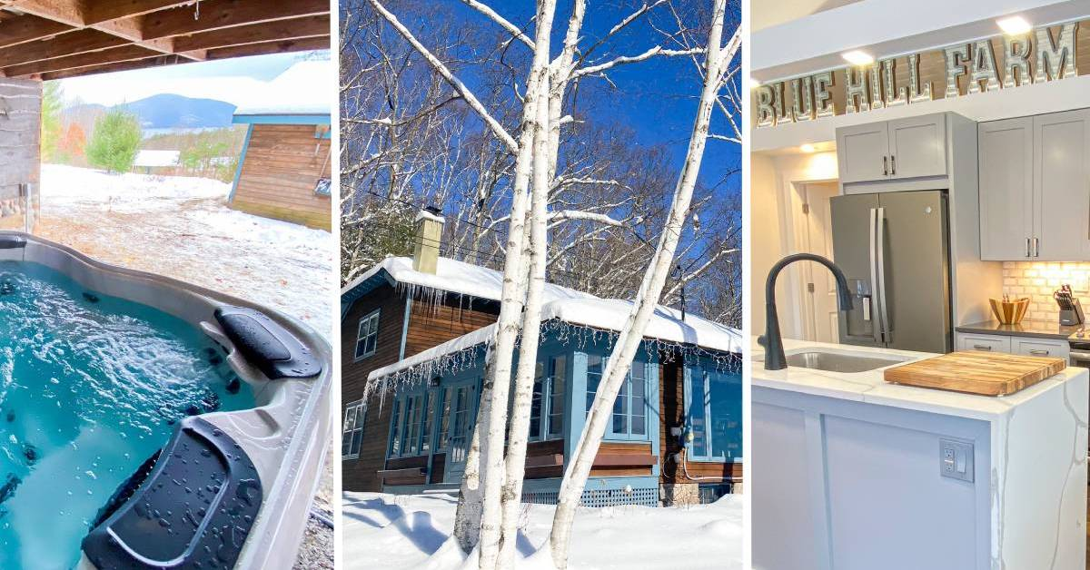 image split in three with hot tub, winter cabin, and kitchen