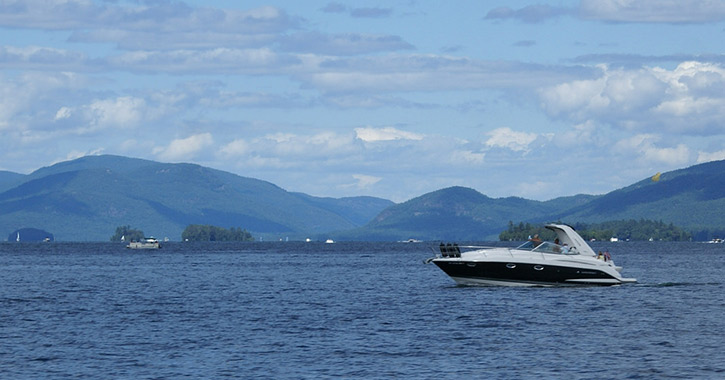 boat in lake george's southern basin