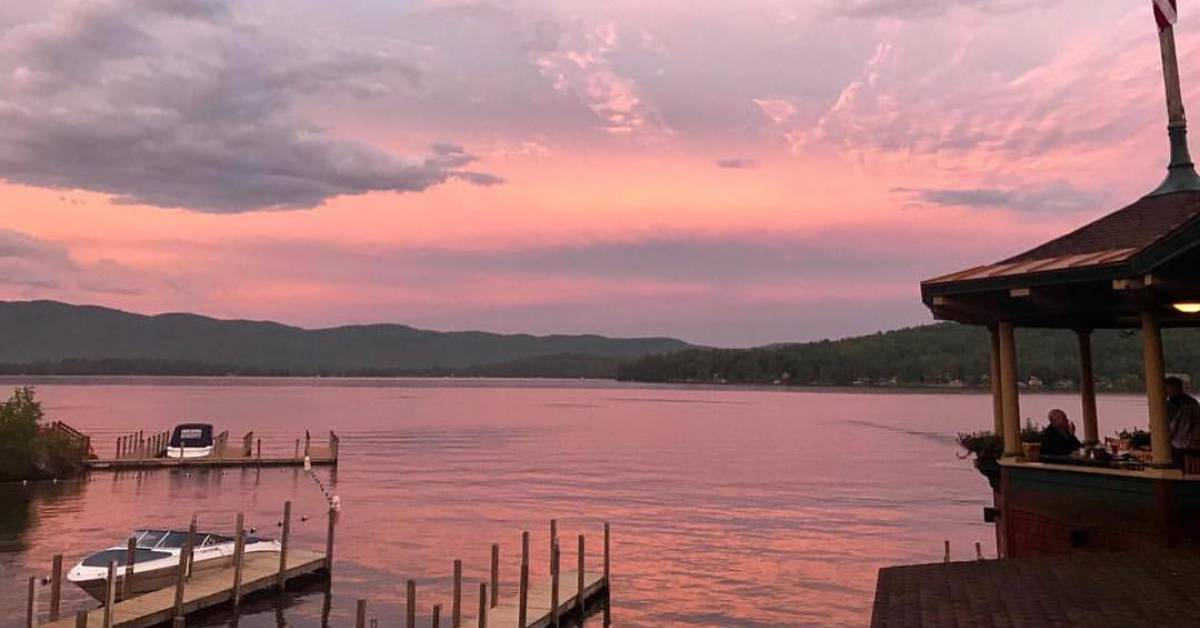 pink sky during sunset over a lake