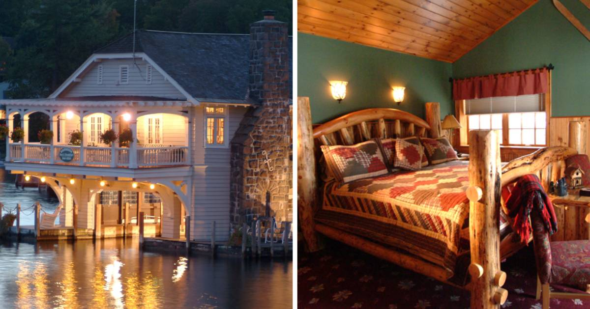 split image of b&b by the water and bedroom