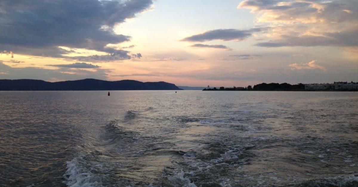 lake and sunset sky