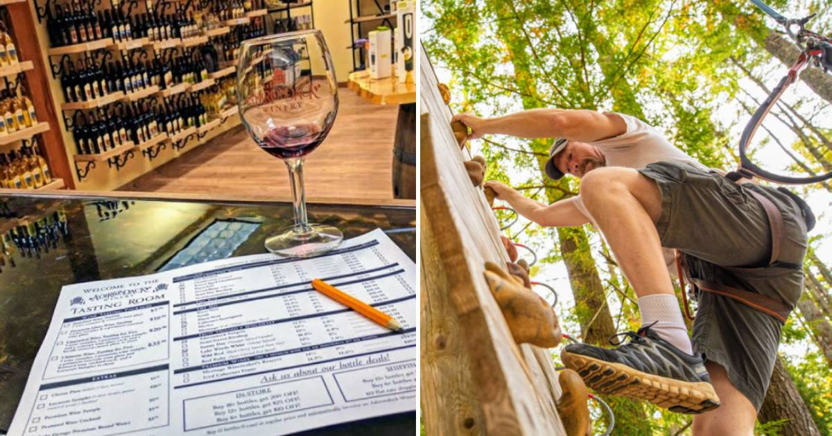 split image with wine and wine tasting sheet on the left and a person on a treetop course on the right