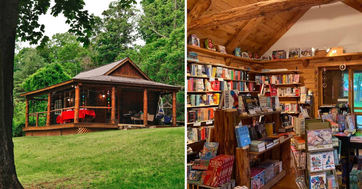 left photo of cabin and right photo of a bookstore interior