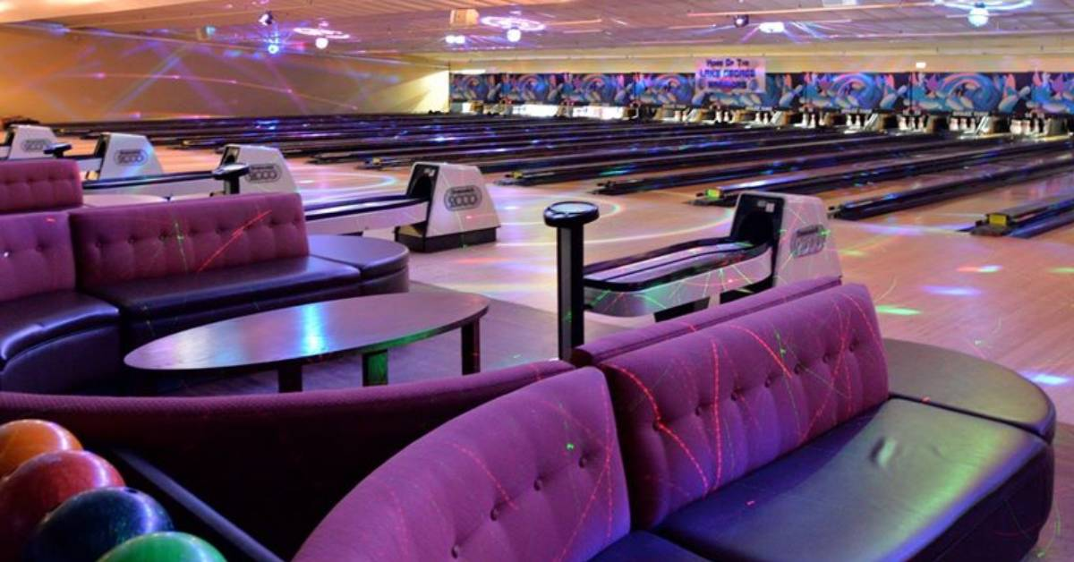 seating area and bowling alley lanes
