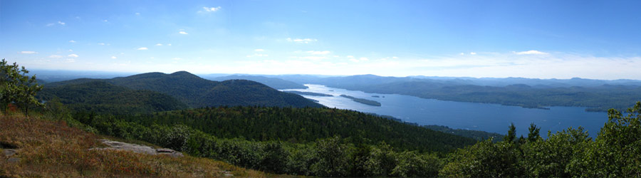 view of lake george from buck mountain's summit