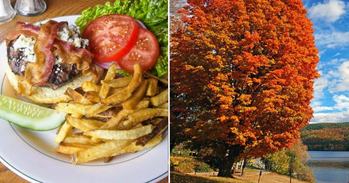 split image with burger on the left and foliage on the right