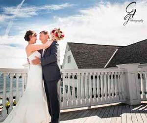 Bride and Groom in front of the Sagamore Resort in Lake George New York