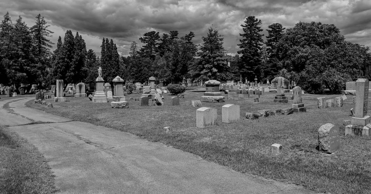 black and white photo of cemetery