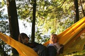 Lounging in a hammock on the Glen Island Group