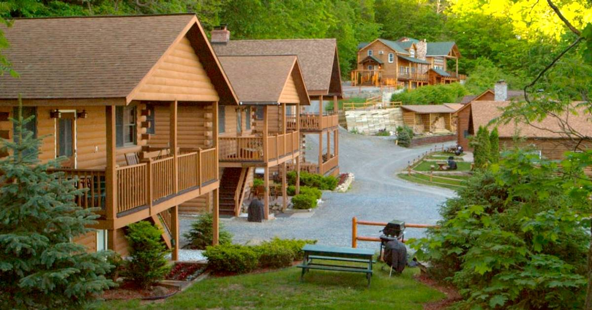 row of cabins at a resort