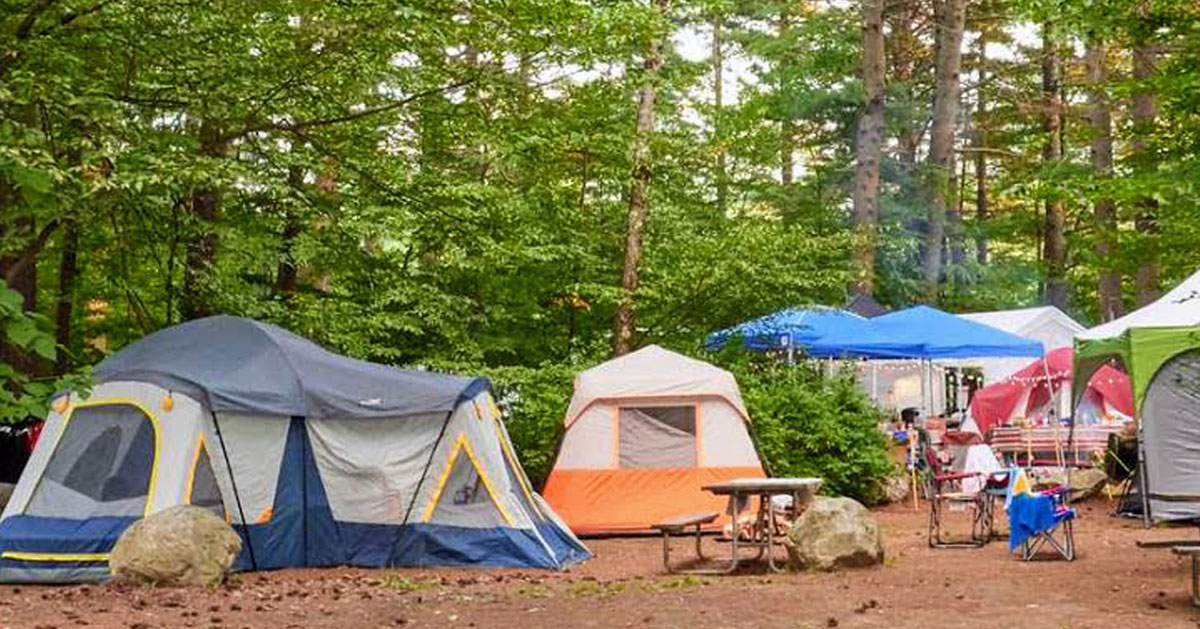 a camping site with tents