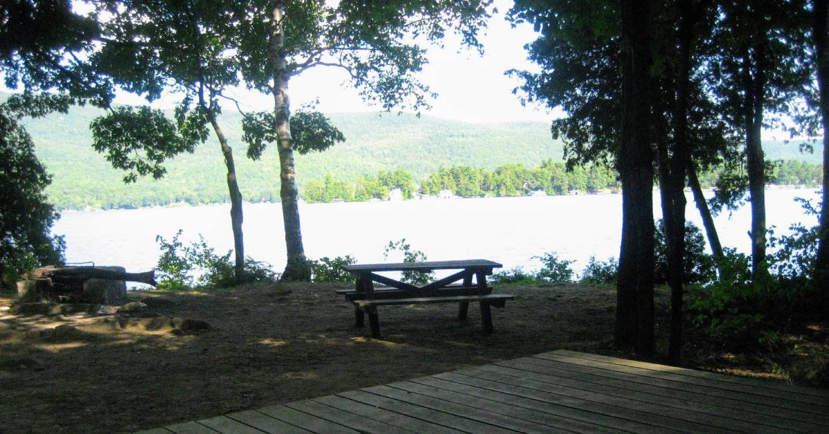 campsite with picnic table