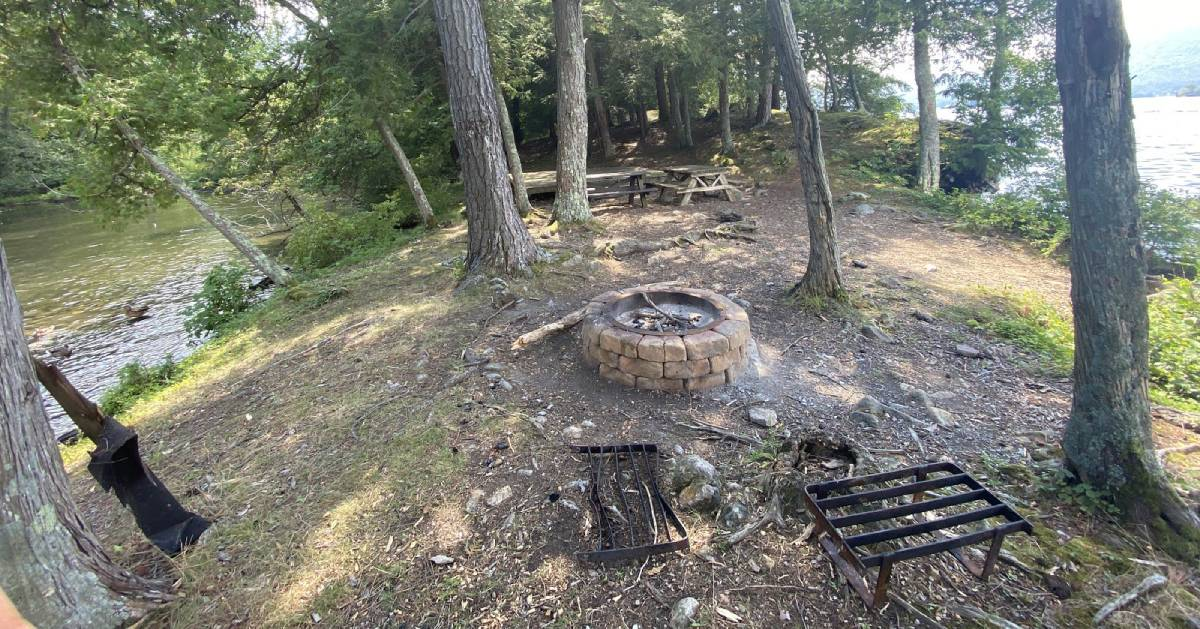 campsite with fire pit