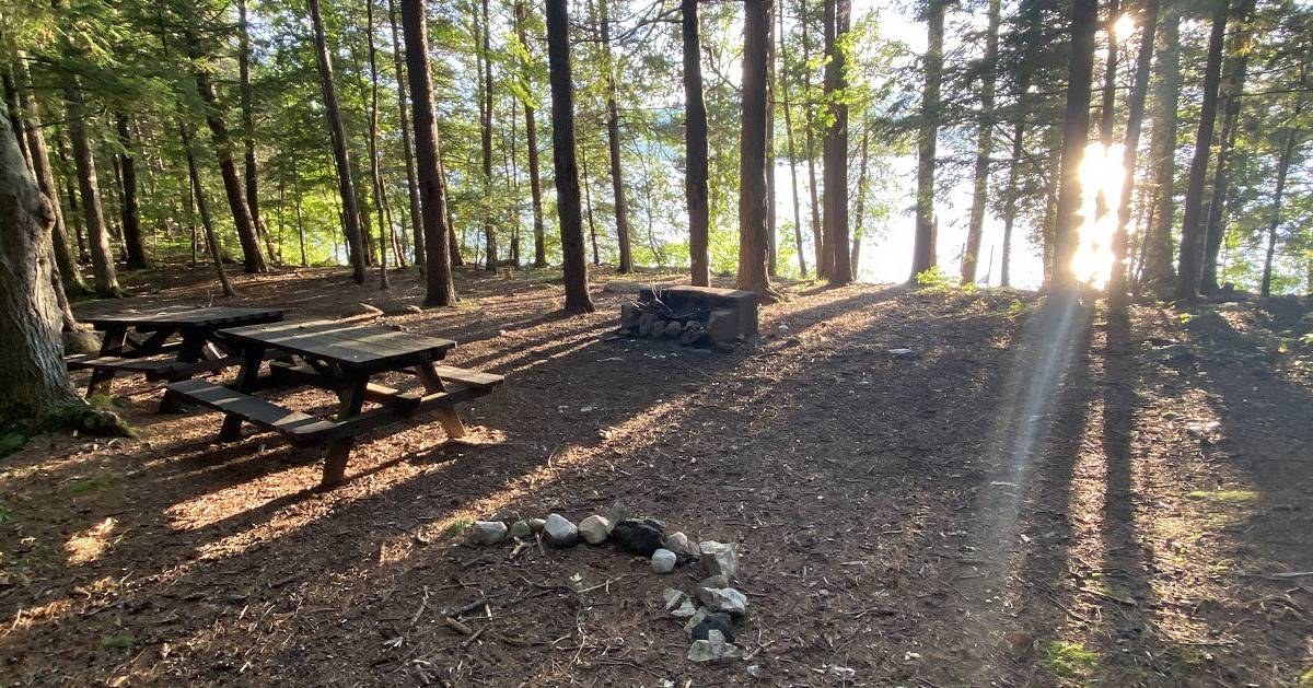 campsite with fire pit and picnic table