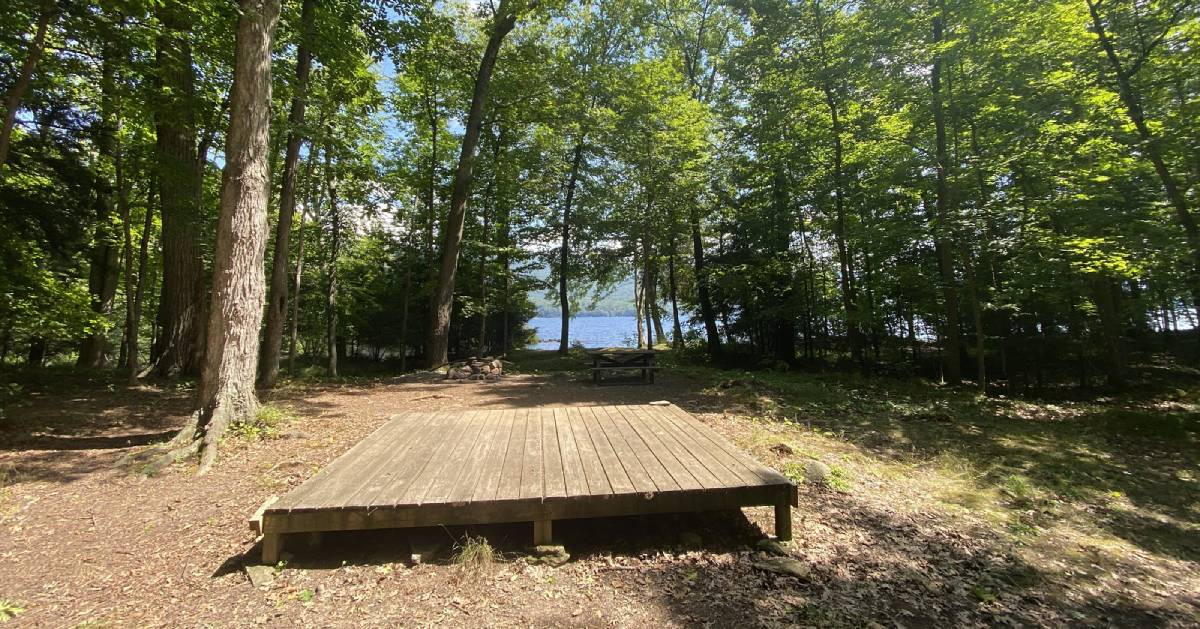 wooden platform at campsite