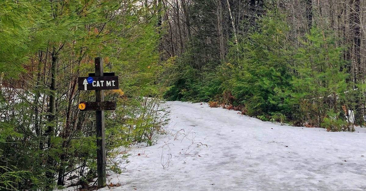 Cat Mountain trail sign in the winter