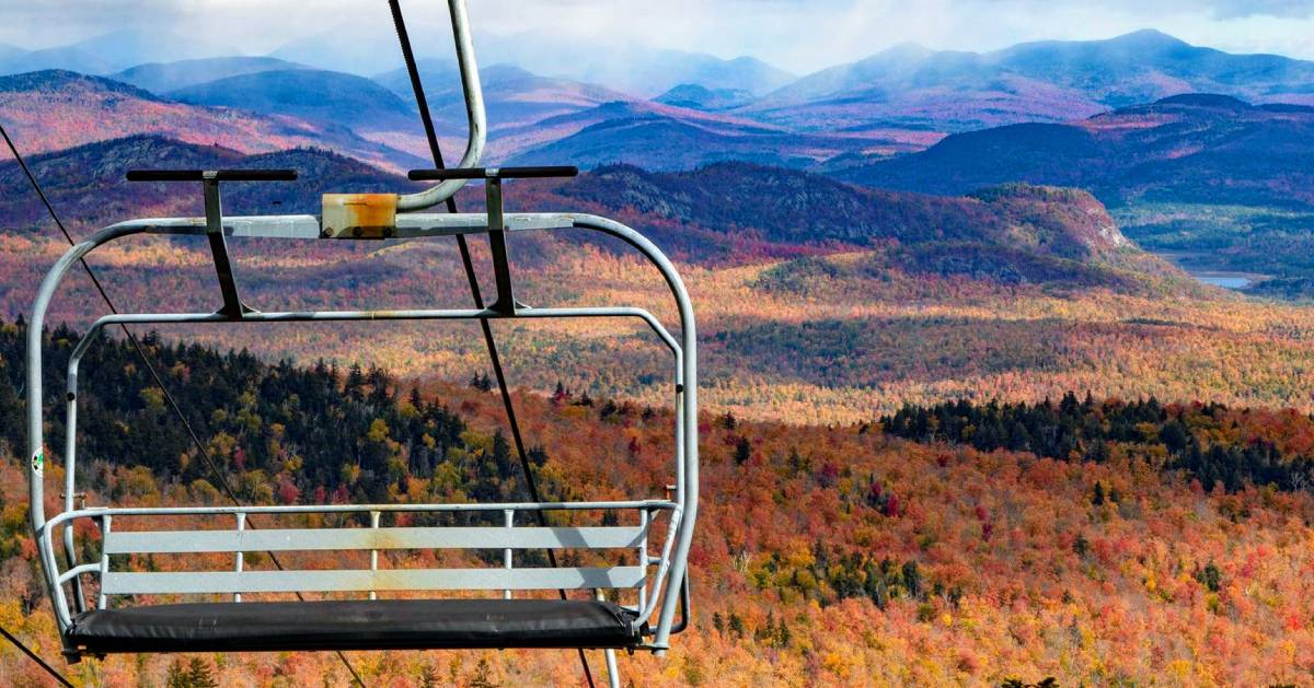 chair lift in the fall