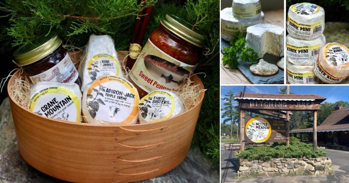 collage of cheese products and store sign