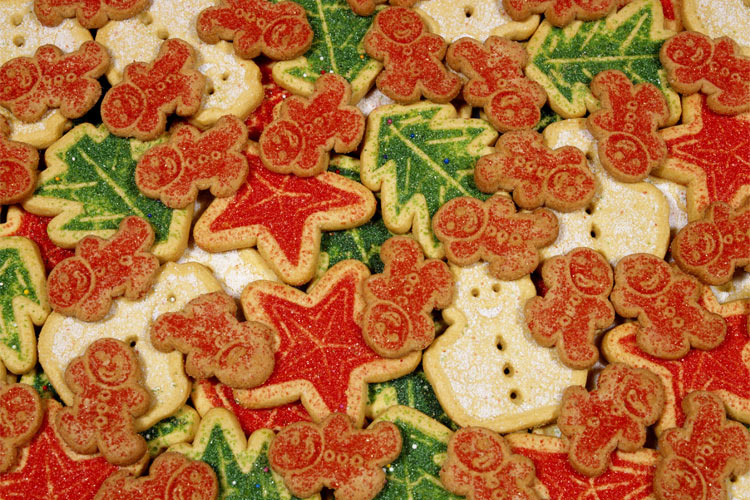 red, green, and white christmas cookies