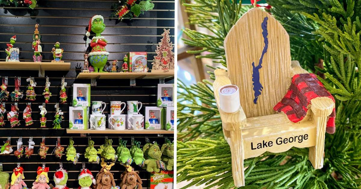 split image with Grinch Christmas items on the left and a Lake George ornament on the right