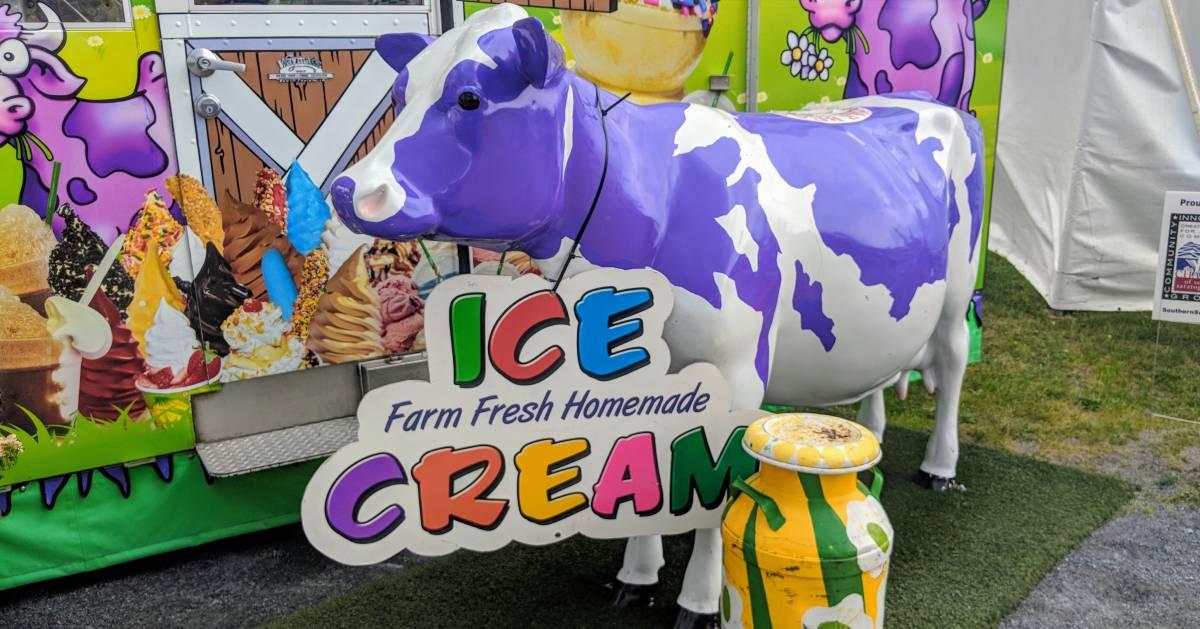 purple fake cow advertising ice cream