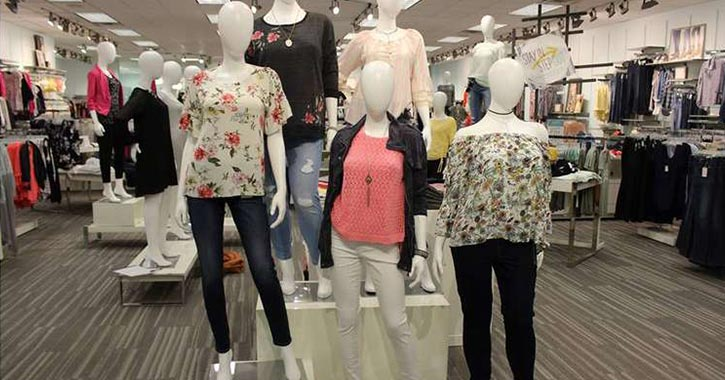 clothes on display in a store