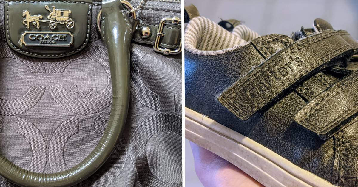split image with Coach purse on the left and Carter's sneakers on the right