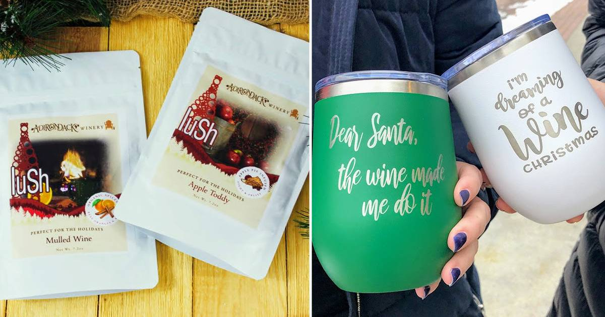 split image with cocktail mixes on the left and wine cups with sayings on them on the right