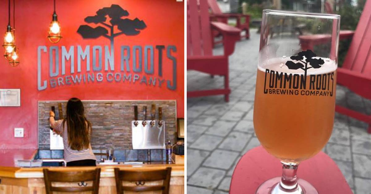 split image with inside of brewery on the left and a glass of beer on a patio on the right