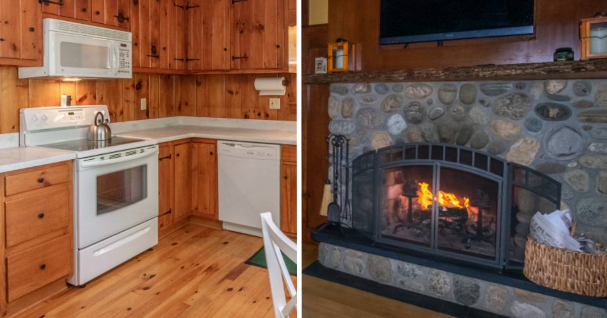 split image with cabin kitchen on left and fireplace on the right
